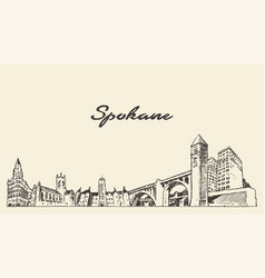 spokane skyline washington united states a vector image