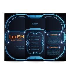 Tri-fold brochure template Futuristic HUD vector