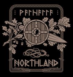Viking scandinavian design shield vector