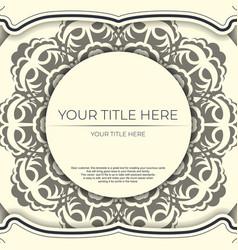 Vintage light cream color postcard template vector