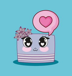 wedding card with cake kawaii character vector image
