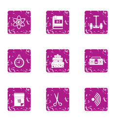 Wedding sentiment icons set grunge style vector
