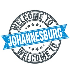 Welcome to Johannesburg blue round vintage stamp vector