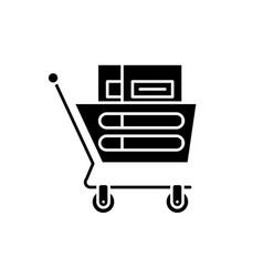 wheelbarrow in the supermarket black icon vector image