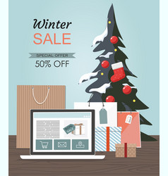 winter sale with christmas tree gift boxes vector image