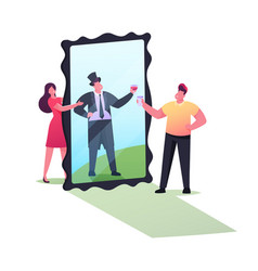 Woman show to man big mirror with reflection vector