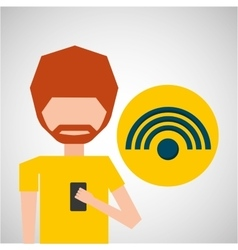 avatar smartphone wifi social media vector image