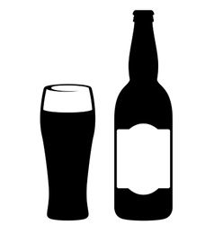 black beer bottle with glass vector image vector image