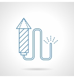 Blue flat line fireworks icon vector image vector image