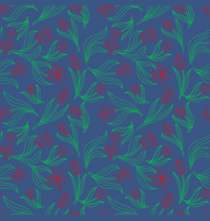 color seamless floral pattern with tulips vector image