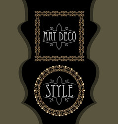 elegant luxurious golden frames square and circle vector image vector image