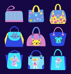 Fashion Cute cartoon pattern Bag Collection vector image