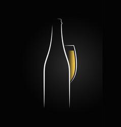 champagne glass logo champagne bottle on black vector image