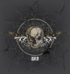cracked skull and emblem vector image