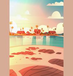 sea shore beach with villa hotel beautiful sunset vector image