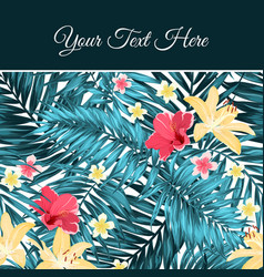 tropical leaves flowers card template place text vector image vector image