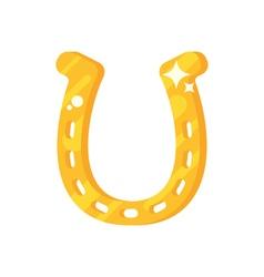 flat style of golden horseshoe vector image