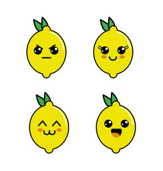 kawaii lemon diferents faces icon vector image