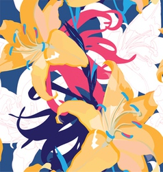seamless blue design with lily vector image vector image