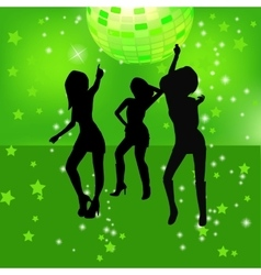 dancing silhouettes of woman in a nightclub vector image vector image