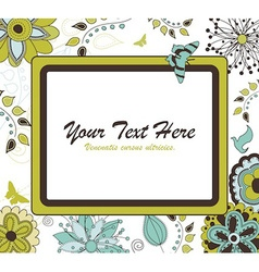 Floral Retro Frame for Your Text vector image vector image