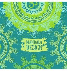 Green Mandala background Round Ornament Pattern vector image