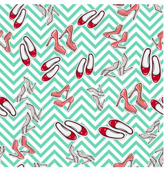 seamless pattern of shoes fashionable footwear vector image vector image