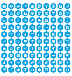 100 internet marketing icons set blue vector image