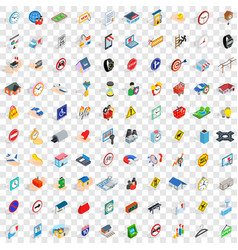 100 stress megapolis icons set isometric 3d style vector