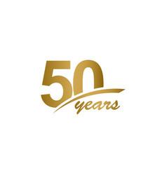 50 years anniversary elegant gold line vector