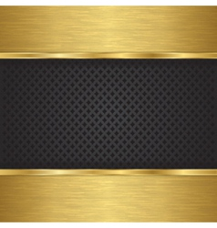 Abstract golden background with metallic grill vector image