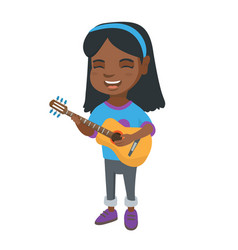 African girl singing and playing acoustic guitar vector