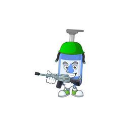An elegant handsanitizer army using automatic gun vector
