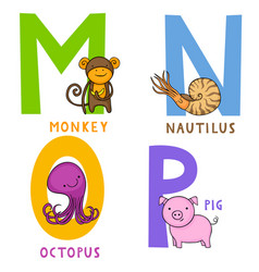 Animal alphabet m n o and p vector