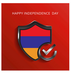 armenia happy independence day glossy shiled vector image