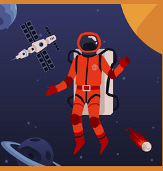 astronaut in outer space on spaceship background vector image
