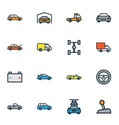 auto icons colored line set with battery carwash vector image