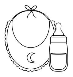 Babib with milk bottle icons vector