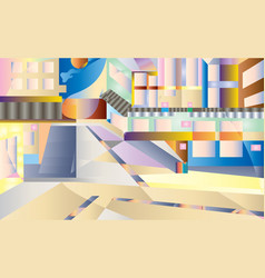 background morning city modern city with morning vector image