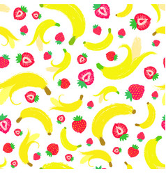 banana strawberry background painted pattern vector image