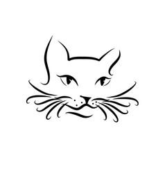 black cat sitting smiling logo design template vector image