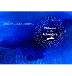 Blue abstract background with plane Welcome to vector
