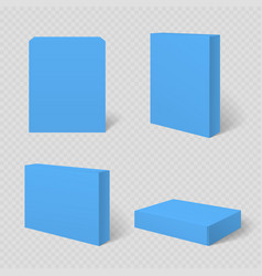 Blue blank cardboard package box template vector