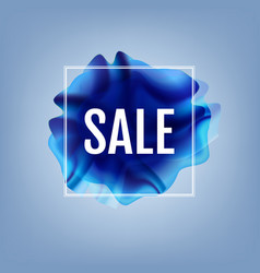 Blue flow poster with sale banner vector