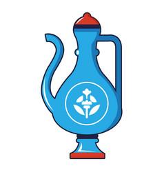Blue turkish teapot icon cartoon style vector