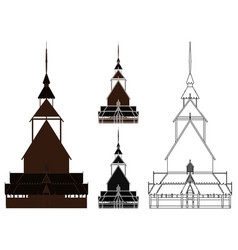 borgund stave church in front view norway vector image