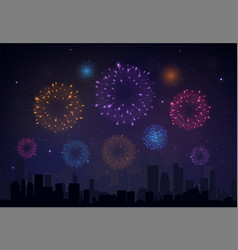 Bright colorful fireworks on night background vector