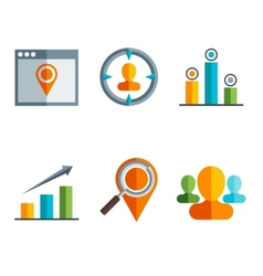 business and finance icons and sign in flat vector image