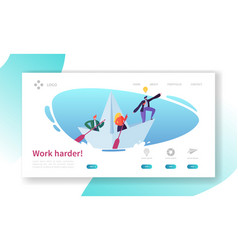 Business leader work in team landing page concept vector