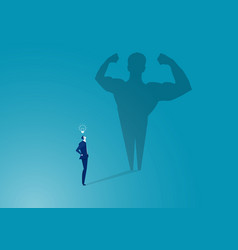 Business man with big shadow concept success vector